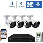 GW Security 8 Canales 4K NVR 6MP H.265 Sistema de cámara de Seguridad de vídeo y Audio con 4 cámaras de Seguridad IP PoE Super HD 6MP