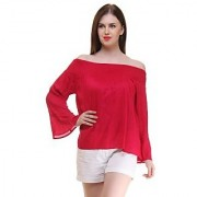 Ruhaans Red Rayon Off Shoulder Long Sleeve Solid Top