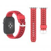Voor Apple Watch serie 3 & 2 & 1 38mm Fashion Fishbone patroon siliconen horloge Strap(Red)