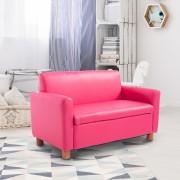 HOMCOM Sofá para Crianças PU Cor-de-rosa 84 x 42,5 x 53 cm