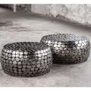 LUMZ Nikkel salontafelset met zilveren kiezels