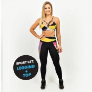 GraffitiBeasts Trun - Dames sport set met ontwerp set bestaande uit legging + top met unieke print.