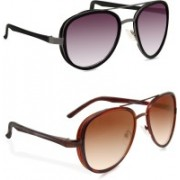 Hupshy Aviator Sunglasses(Violet, Brown)