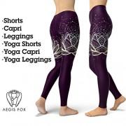 Aegis Fox Mallas de Loto, Mallas de Yoga, diseño Floral, Color Morado, Ropa de meditación y Ropa de Actividad para Mujer, Longitud Completa o Capri, E-Yoga Capri Leggings, L