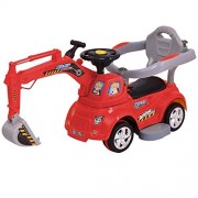 MD Group Ride Toy 3-in-1 Ride-On Riding Excavator Digger Car Red Electric Remote Control