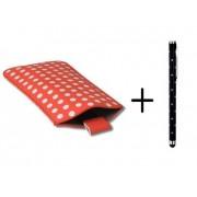 Polka Dot Hoesje voor Huawei Ascend Y210 met gratis Polka Dot Stylus, Rood, merk i12Cover