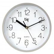 Ceas rotund de perete, D-225mm, cifre arabe, TIQ - rama plastic argintie - dial alb