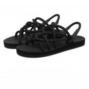 Sandalias Antideslizante Zapatillas Con Cordón Transpirables Zapatos De La Playa -Negro