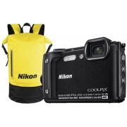 "Aparat Foto Digital Nikon COOLPIX W300 Holiday Kit, 16 MP, 1/2.3"" CMOS, 5x Zoom optic, Filmare 4K, Waterproof, Shockproof, GPS, Bluetooth, WiFi (Negru)"
