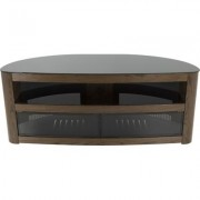 AVF Burghley Affinity Plus Curved TV Stand 1250- Walnut w/ Black Glass