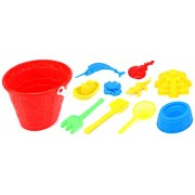 Tower Bucket Childrens Kids Toy Beach/Sandbox Playset w/ Bucket, Hand Tools, Sand Molds (Colors May Vary)