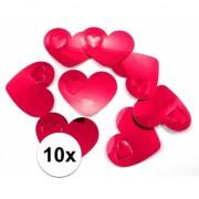 Geen 10x mega confetti rode hartjes