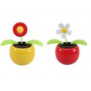 Set of 2 Dancing Flowers ~ 1 Red Sunflower in Yellow Pot + 1 White Daisy in Red Pot Solar Toy Flower