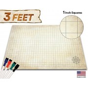 "Evolve Skins Battle Grid Game Mat - 36"" x 24"" - Table Top Role Playing Map - DnD Role Play - RPG Dungeons and Dragons Maps Tiles - Reusable Miniature Figure Board Games - Tabletop Gaming Mats (Distressed Terrain)"