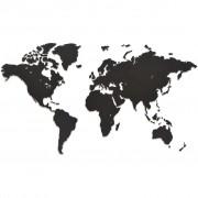 MiMi Innovations Карта на света стенна дърво Luxury черна 90x54 см