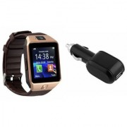 Zemini DZ09 Smart Watch and Car Charger for SONY xperia sp(DZ09 Smart Watch With 4G Sim Card Memory Card| Car Charger)