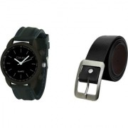 Crude Combo of Analog Watch-rg641 With Leather Belt