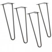 [en.casa]® Štýlové stolové nohy 2 – sada nôh (4 kusová) - 61 cm - strieborné