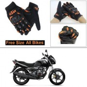 AutoStark Gloves KTM Bike Riding Gloves Orange and Black Riding Gloves Free Size For Honda Unicorn