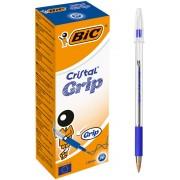 BIC Cristal® Grip Balpen Blauw met dop 20 Stuks