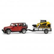 Bruder Jeep Wrangler Unlimited Rubicon met eenassige aanhanger met CAT kompactlader