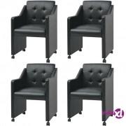 vidaXL Blagovaonske stolice od umjetne kože 4 kom crne