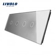 Panou 4 intrerupatoare simple cu touch Livolo din sticla, gri