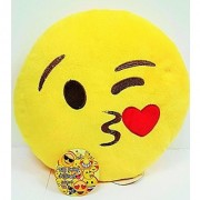 Emoji 32cm Silly Smiley Pillows Emoticon Yellow Round Cushion Pillow Stuffed Plush Soft Toy Emoji Kiss Eye