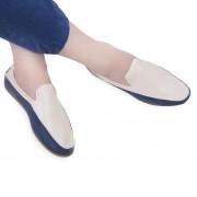 Oversize Vent Holes Slip On Hombres Casual Zapatos De Cuero-Beige Blanco-46
