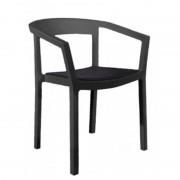 Resol - Conjunto de 4 cadeiras com braços pretas e estofo preto PEACH - RESOL