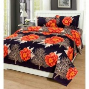 Luxmi Simple flowers Design 3D Double Bed sheets With 2 Piilow covers - OrgBK