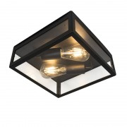 QAZQA Modern Square Outdoor Ceiling Lamp 2 Black - Rotterdam