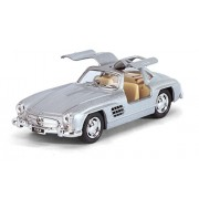 Kinsmart - 1954 Mercedes-Benz 300 SL Die-Cast with Openable Doors & Pull Back Action 1:36 Scale (Silver)