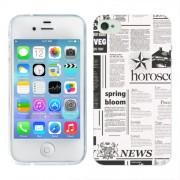 Husa iPhone 4S Silicon Gel Tpu Model Newspaper