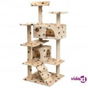 vidaXL Penjalica Grebalica za Mačke sa Stupovima od Sisala 125 cm Bež s Otiskom Šapa