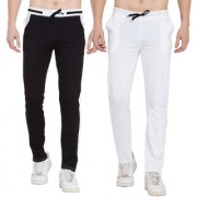 Cliths Stylish Joggers For Men/ Casual Trackpant For Men -Pack Of 2 (Black White)