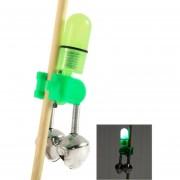 10 PC Accesorio De Pesca Pesca Mordida Twin Bells Clip Con LED Luz De La Noche