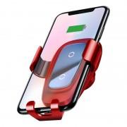 Baseus Metal Wireless Charger Gravity Car Mount - поставка за радиатора на кола с безжично зареждане за Qi съвместими смартфони (червен)