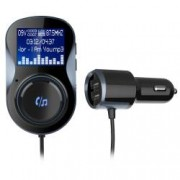 Car kit auto MP3 Bluetooth cu functie modulator FM wireless incarcare dual USB si prindere magnetica negru