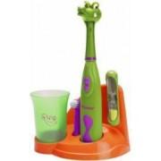 Set periuta de dinti pentru copii Bestron DSA3500P clepsidra 2 minute si cana incluse Crocodil