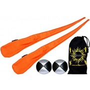 Flames N Games Sock Poi Set (ORANGE) Pair of Quality Stretchy Lycra Spinning Poi Socks + 2x90g Balls