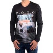 Cars Jeans Tricou negru pentru bărbați cu imprimeu Porzo Black 4597201 M