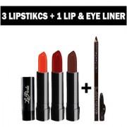 Adbeni 3 Lipstick With ADS Lip Eye Liner Makeup Combo Set of 4