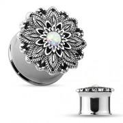 8 mm Double-flared plug lotus bloem met opal steen