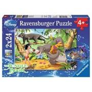 Puzzle 2 in 1 - Prietenii lui Mowgli, 48 piese