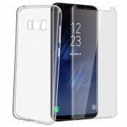 Avizar Funda de Silicona Transparente + Cristal Templado para Samsung Galaxy S8