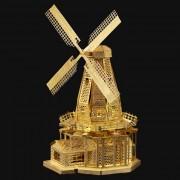 DIY puzzle creativo holanda molino de viento de juguete - oro