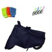 Bull Rider Brand Bike body cover with mirror pocket Perfect fit for Hero HF Deluxe+ Free (Microfiber Gloves + Tyre LED Light) Worth Rs 250
