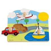 Jucarie eco din lemn Puzzle Mijloace de transport 2 Hape