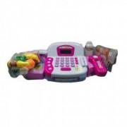Casa de marcat cu baterii si monede plastic bancnote jucarie 1 cutie fructe legume sticle cantar scanner produse